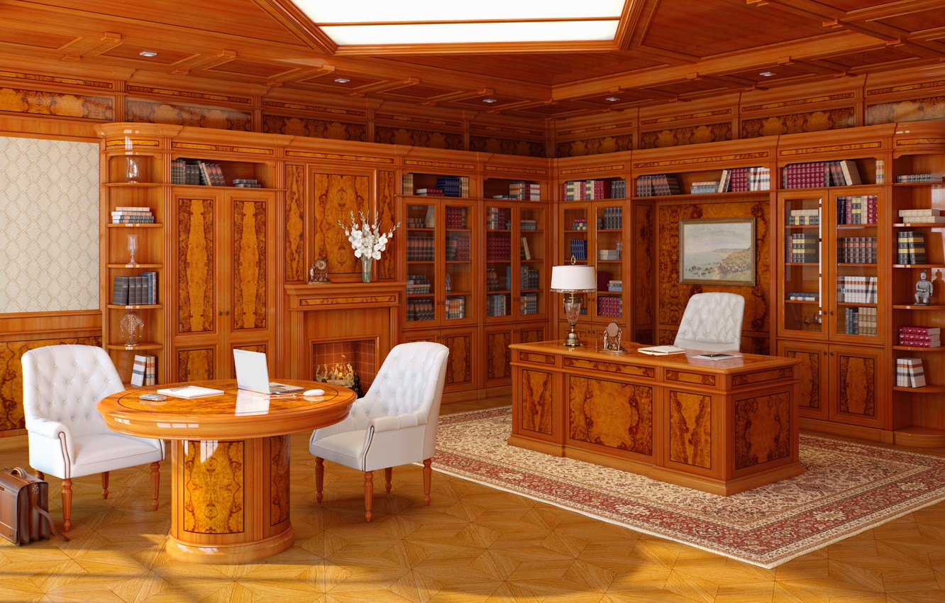 Photo wallpaper style, table, furniture, books, interior, chair, chairs, office, interior, classics, office, computer, picture.