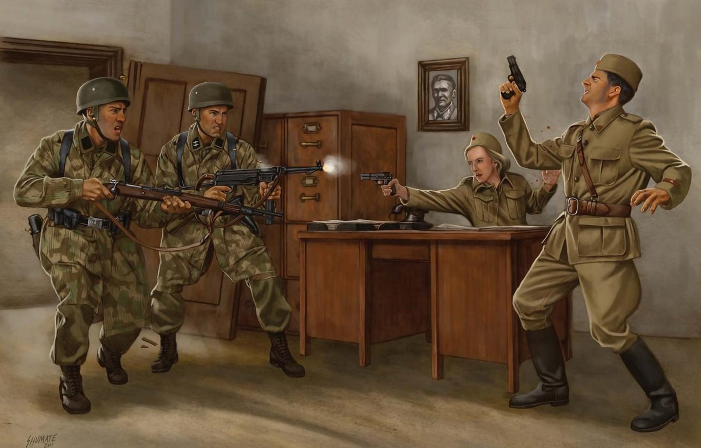 Photo wallpaper weapons, figure, art, soldiers, shootout, invasion, The great Patriotic war