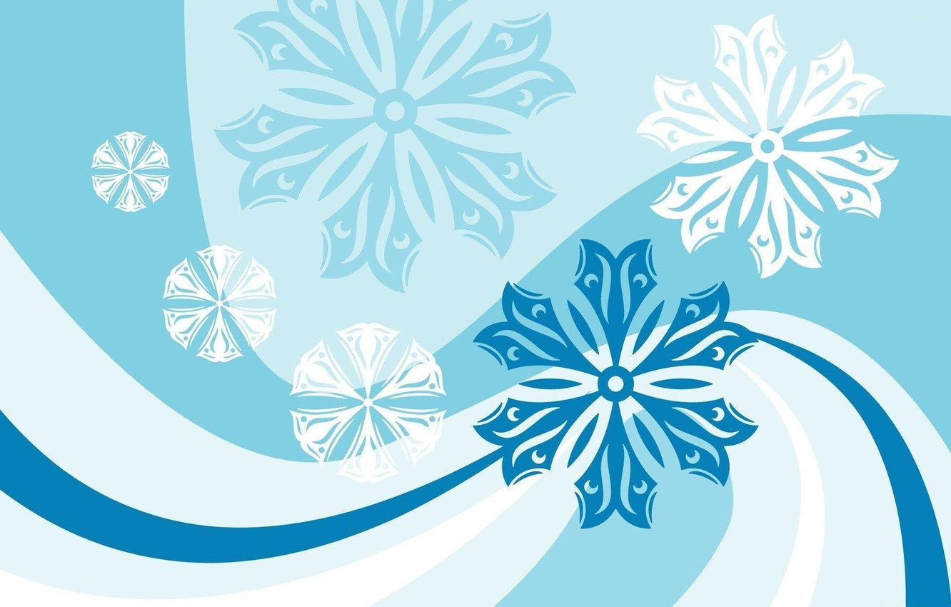 Photo wallpaper line, snowflakes, strip, patterns, vector graphics