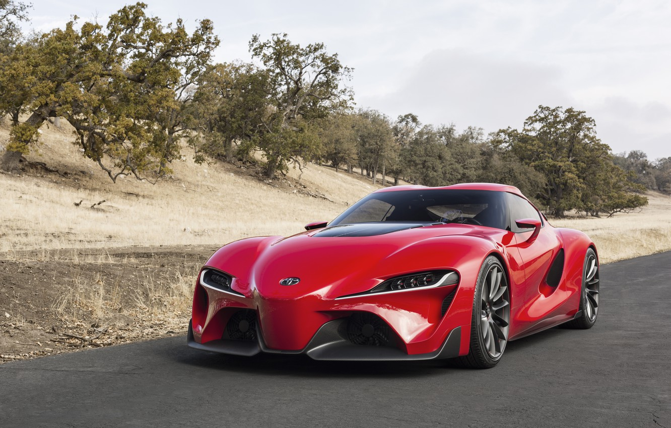 Photo wallpaper car, machine, Concept, red, Toyota, the front, FT-1