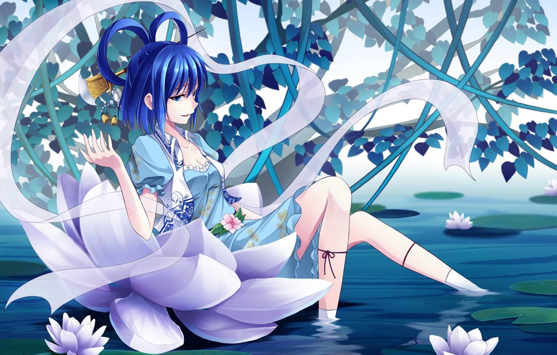 Photo wallpaper water, girl, anime, art, Lotus, art, touhou kaku, Shine bell