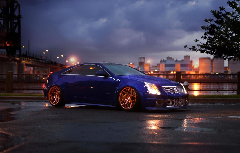 Photo wallpaper car, rain, Cadillac, CTS, Coupe