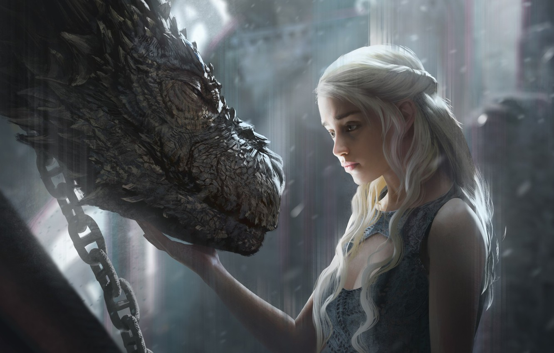 Photo wallpaper girl, fantasy, art, dragon, Game of Thrones, Emilia Clarke, Daenerys Targaryen, film, artwork, actress, fantasy …