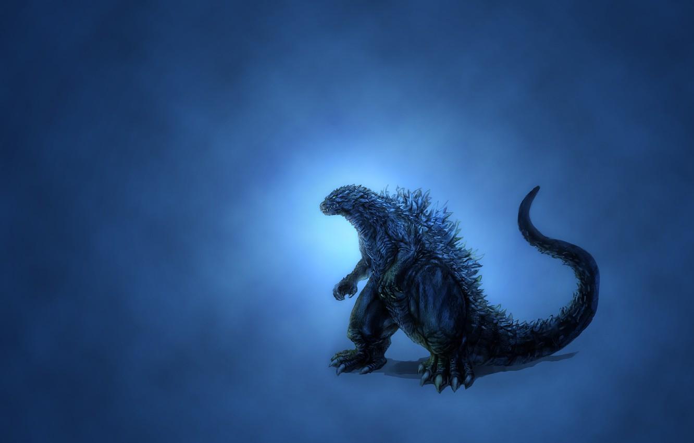 Photo wallpaper dinosaur, glow, minimalism, blue background, Godzilla, darkish, Godzilla