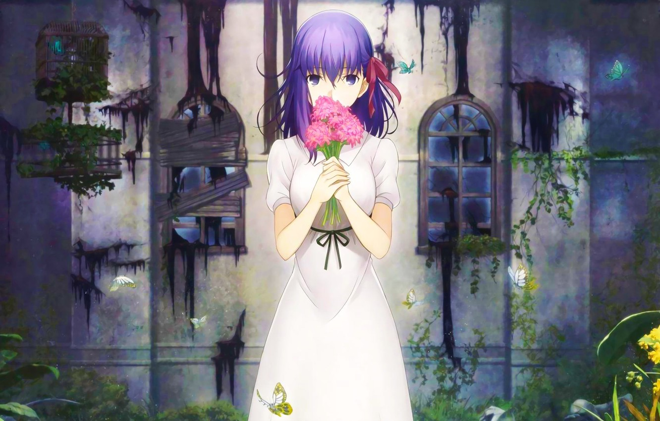 Wallpaper Girl Fate Stay Night Flowers Type Moon Sakura Matou