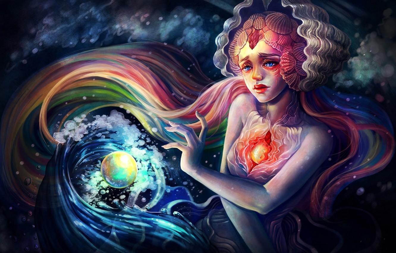 Photo wallpaper girl, bubbles, face, heart, mermaid, art, shell, sphere, under water, Yangtian Li