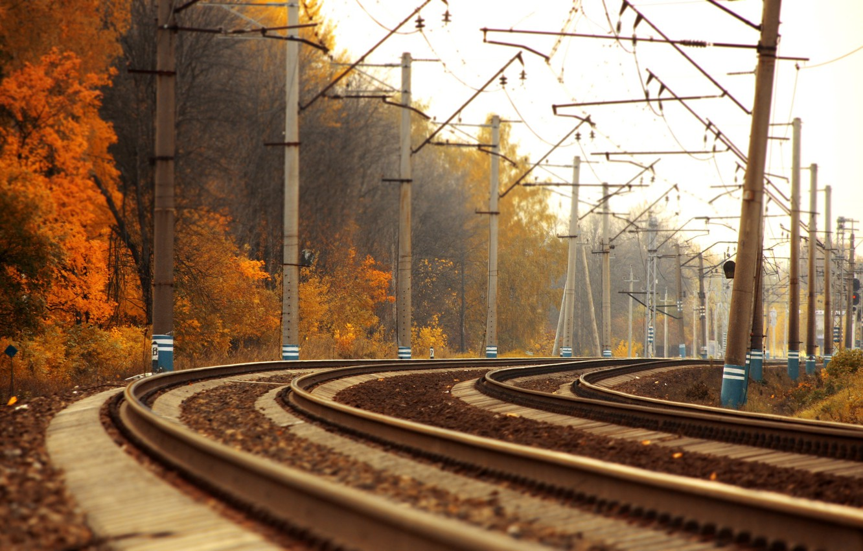 Photo wallpaper road, autumn, trees, landscape, the way, photo, gold, rails, train, trains