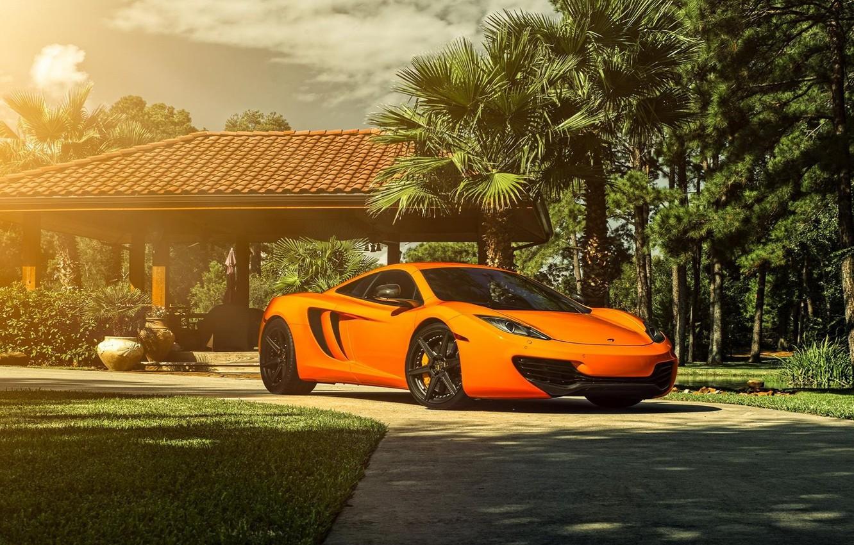 Photo wallpaper McLaren, Orange, Front, Sun, MP4-12C, Supercar, Wheels, ADV.1
