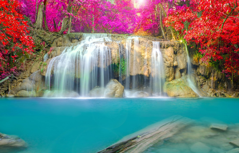 Photo wallpaper autumn, landscape, waterfall, nature, water, autumn, waterfall