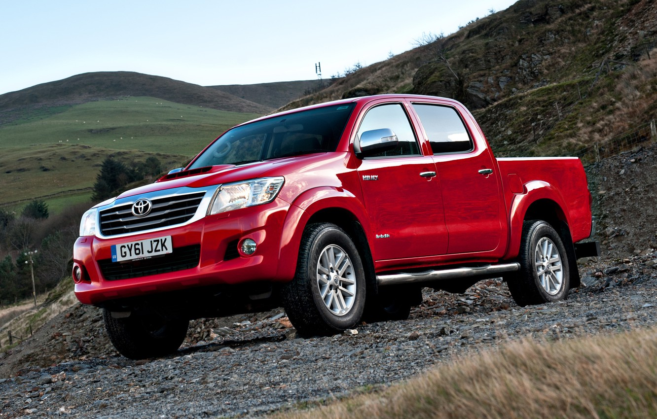 Photo wallpaper England, Red, Nature, Mountains, Japan, Wallpaper, UK, Red, Toyota, Car, Pickup, Auto, Hilux, Wallpapers, Double …
