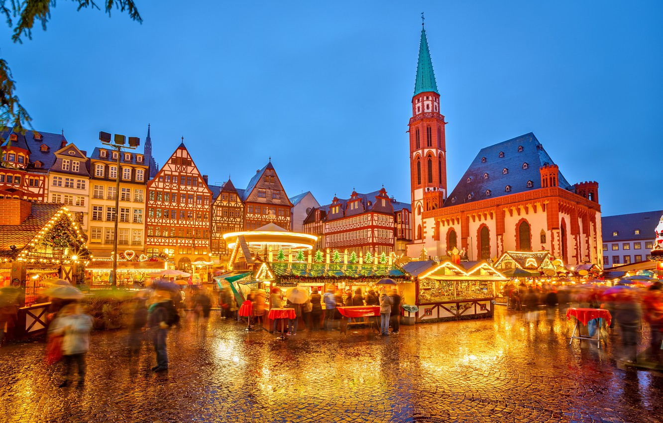 Photo wallpaper winter, light, the city, lights, people, the evening, Germany, lighting, area, Christmas, market, holidays, stores, …