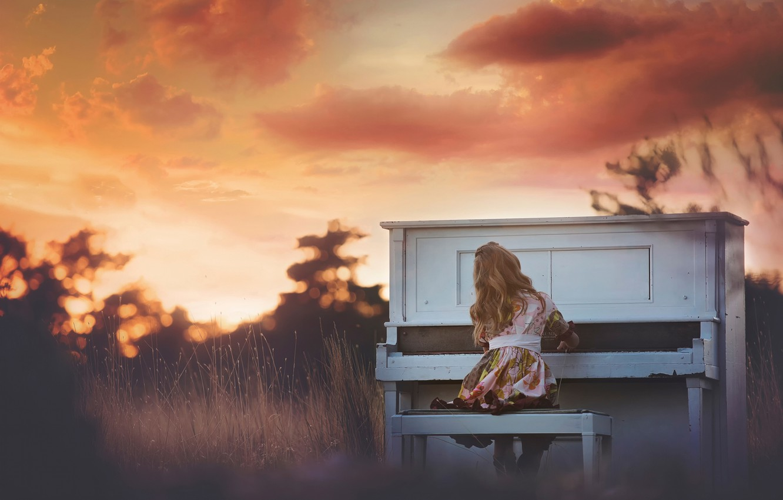 Photo wallpaper girl, piano, Sunset Piano