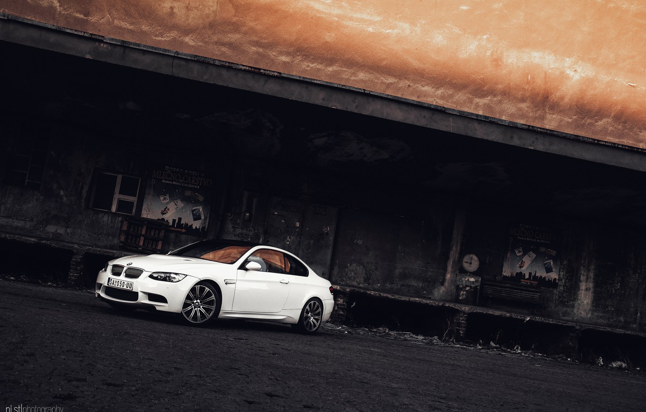 Photo wallpaper the building, BMW, BMW, white, white, is, abandoned, e92, E92, ni.st photography
