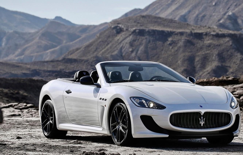 Photo wallpaper Maserati, Mountains, White, Convertible, Maserati, Car, Car, White, GranCabrio, 2014, Grand