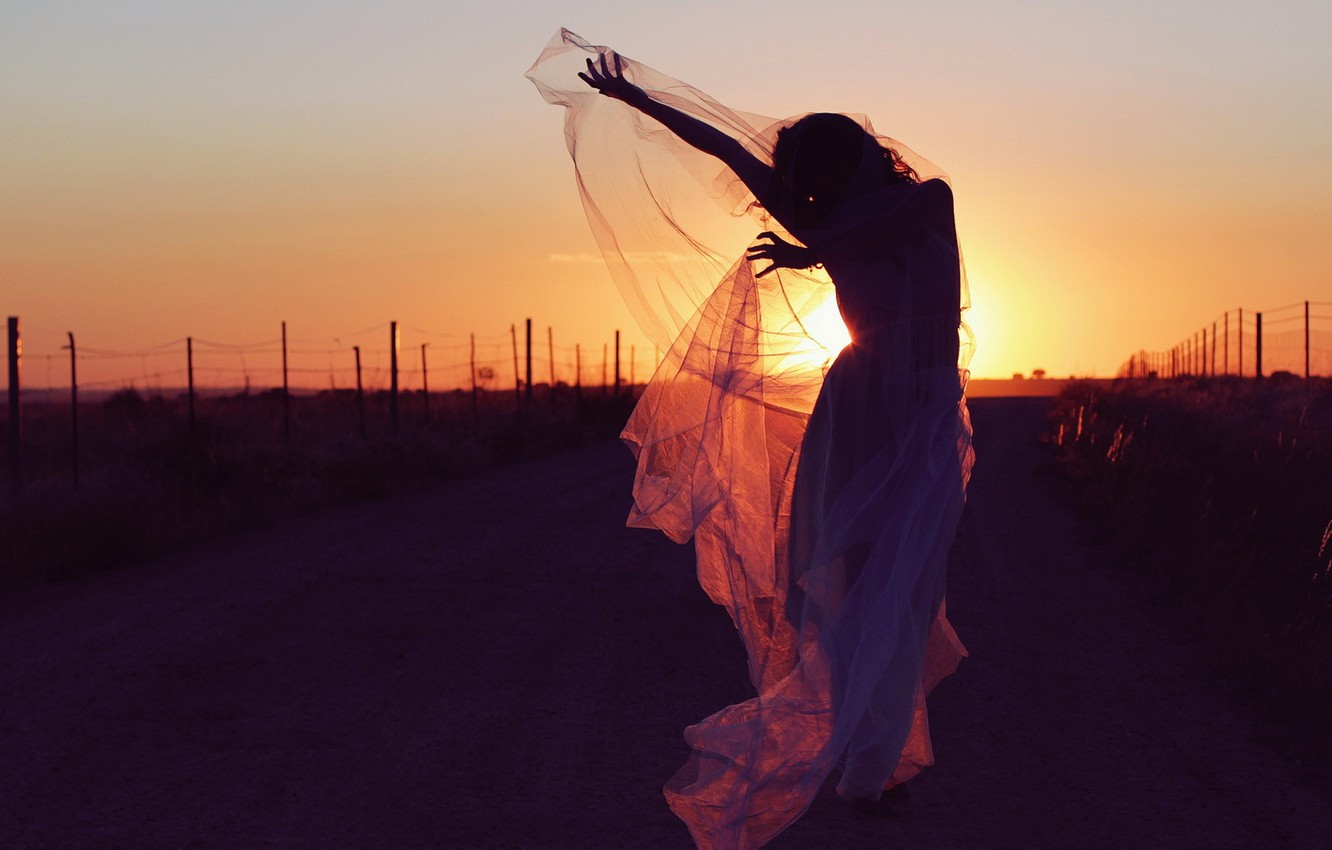 Photo wallpaper road, girl, sunset, mood