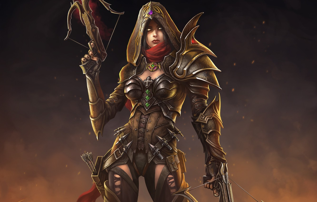 Photo wallpaper girl, art, hood, Diablo III, crossbow, Demon Hunter, Reaper of Souls