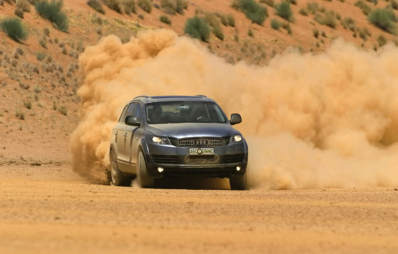 Photo wallpaper the wind, Audi, desert, dust, turn, cars, cars, desert, sands, auto walls, dust, wind machines