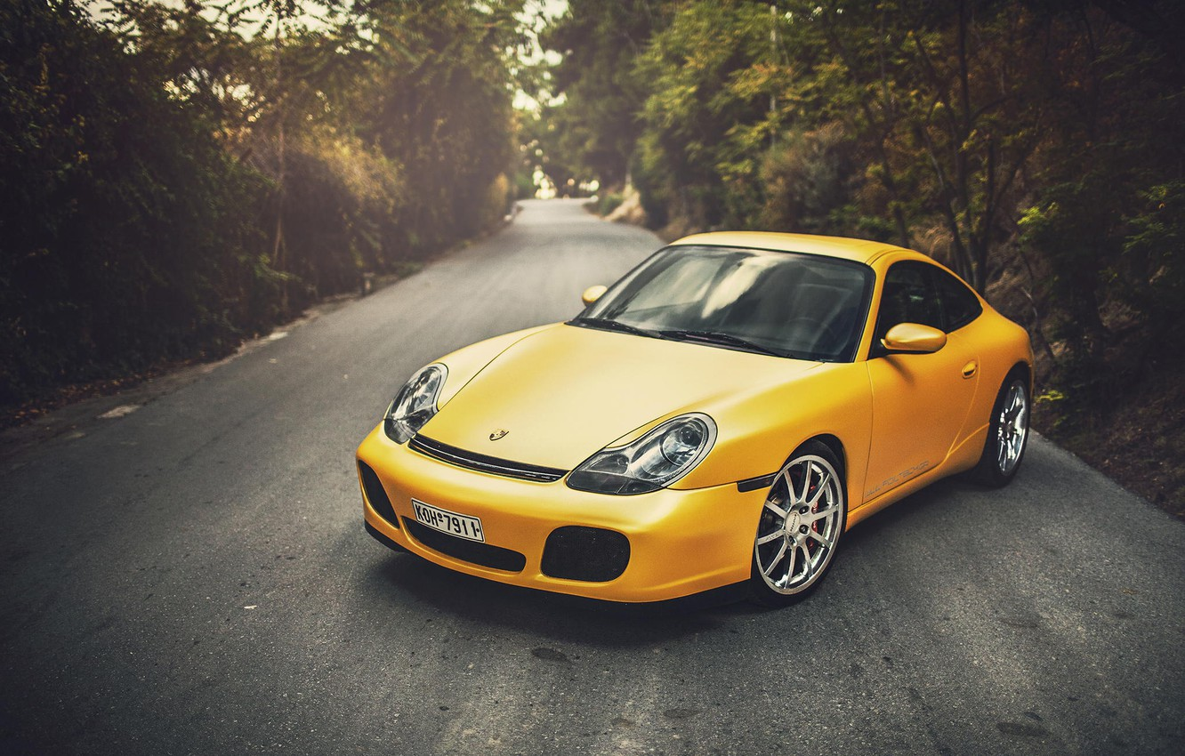 Photo wallpaper Porsche, Porsche, Carrera, Yellow, 996, Wildness