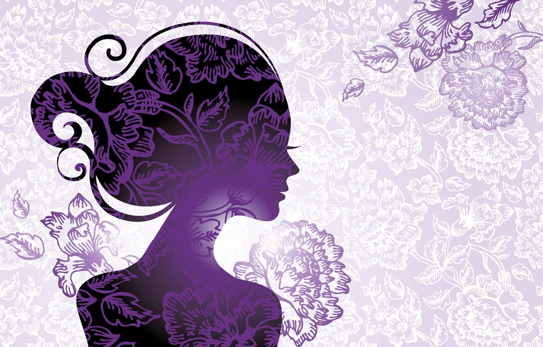 Photo wallpaper leaves, girl, flowers, style, silhouette, profile, eyelashes. hair