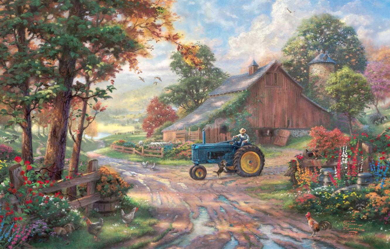 Photo wallpaper animals, summer, trees, flowers, pond, the barn, tractor, summer, painting, trees, animals, dog, farm, man, …
