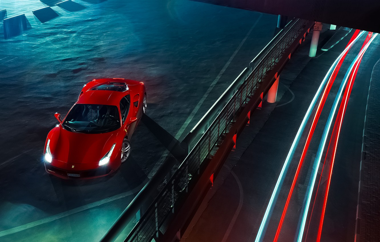 Photo wallpaper Ferrari, Red, Power, GTB, Front, View, Supercar, Top, 488