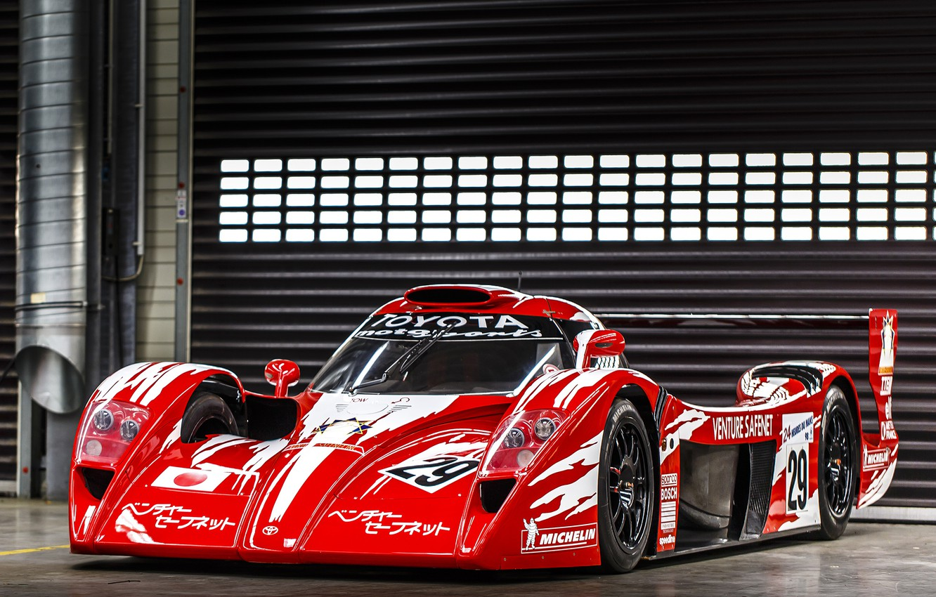 Photo wallpaper red, Toyota, car, Toyota, 1998, racing, GT One, Race Version