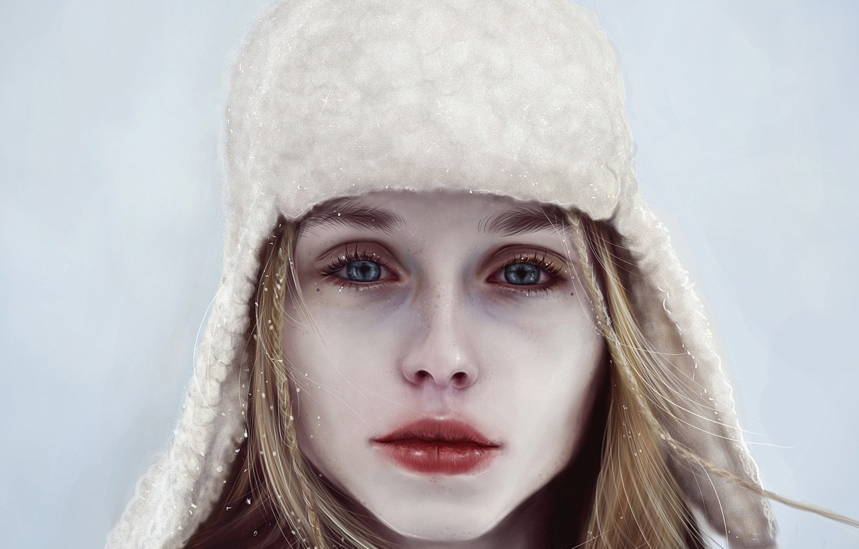 Photo wallpaper winter, look, girl, snow, face, hat, art, lips
