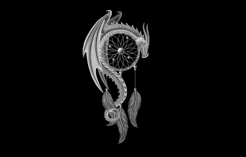 Photo wallpaper dragon, minimalism, feathers, black background, dragon, Dreamcatcher, Dreamcatcher