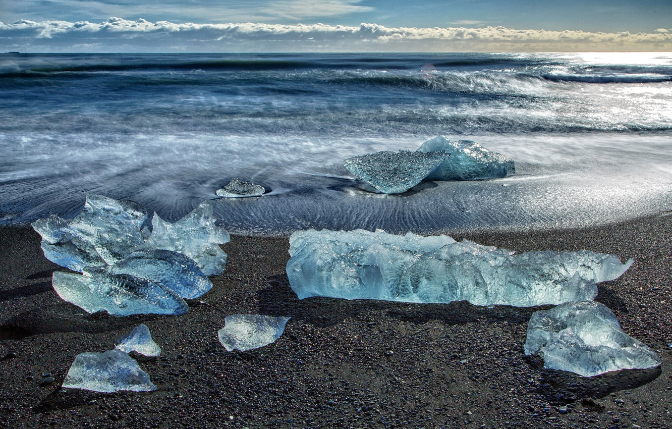 Photo wallpaper ice, sea, wave, the sky, clouds, shore, floe