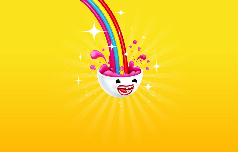 Photo wallpaper joy, yellow, color, rainbow, minimalism, head