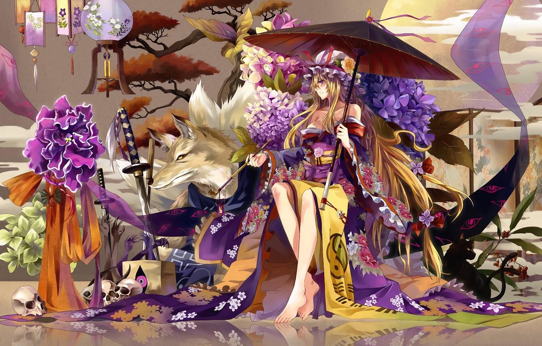 Photo wallpaper girl, flowers, tree, skull, wolf, tube, sword, katana, umbrella, lights, kimono, hydrangea, Touhou, strikingly is …