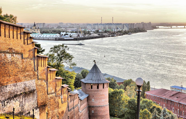 Photo wallpaper river, arrow, Oka, Volga, Nizhny Novgorod