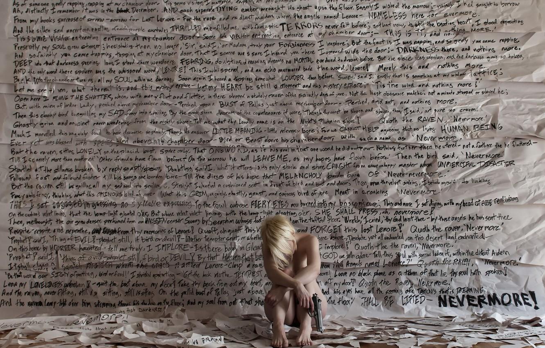 Photo wallpaper girl, gun, wall, the situation