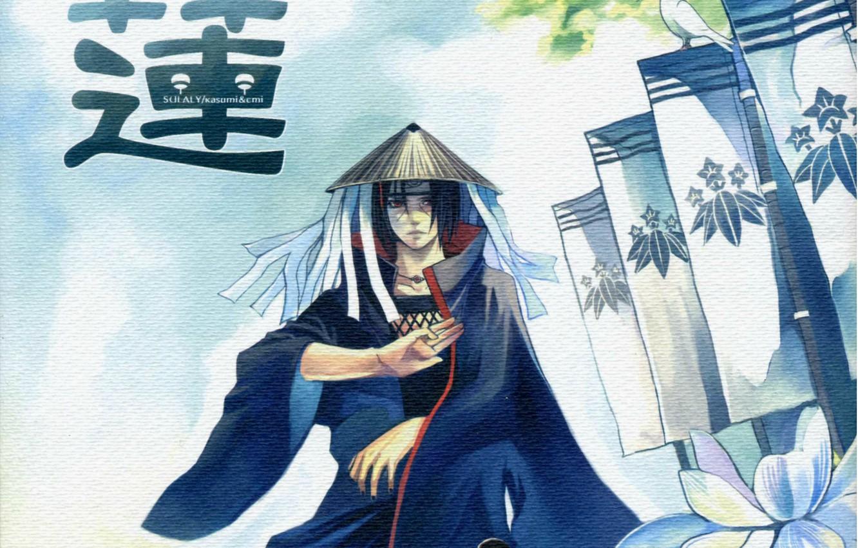 Photo wallpaper the sky, hat, characters, emblem, flags, gesture, Akatsuki, Itachi Uchiha, Naruto Shippuden, white dove, Naruto …