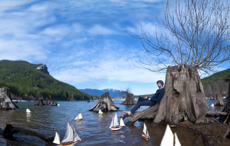 Photo wallpaper dreams, lake, the situation, guy, boats