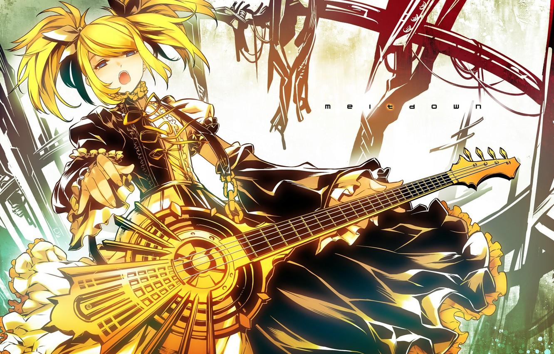 Photo wallpaper girl, guitar, art, vocaloid, kagamine rin, Vocaloid, meltdown