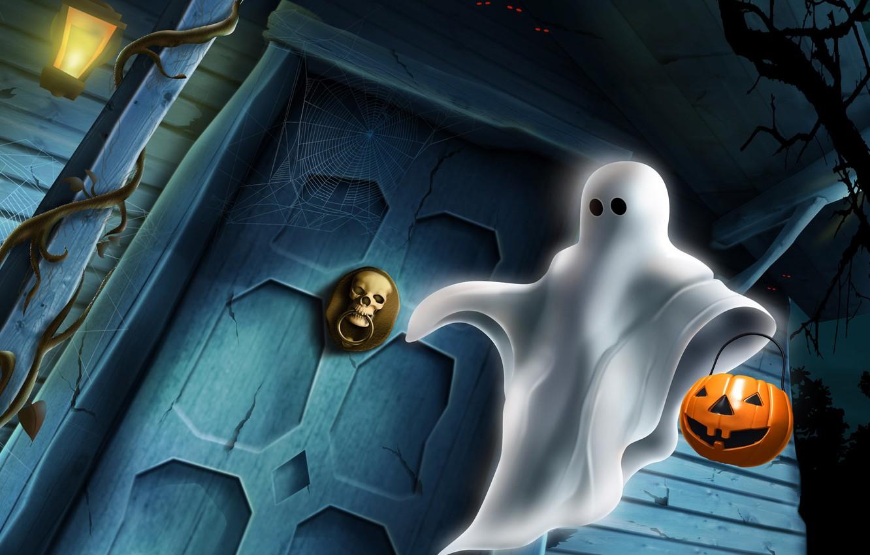 Photo wallpaper skull, the door, Ghost, lantern, pumpkin, Halloween