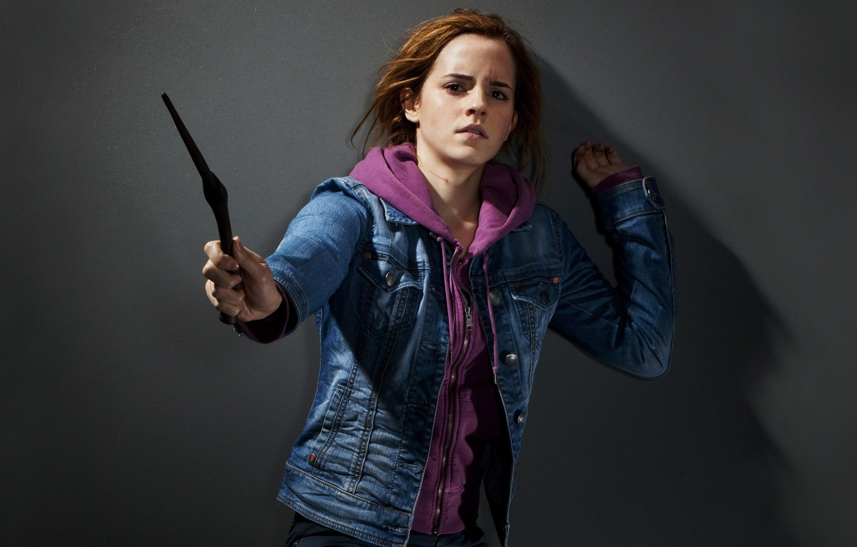 Wallpaper Girl Actress Emma Watson Magic Wand Movie Star