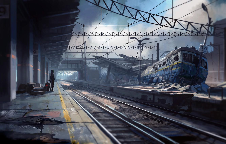 Фото обои крушение, вокзал, ожидание, Romantically Apocalyptic, поезд