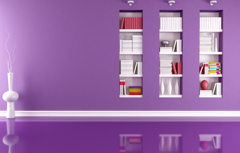 Photo wallpaper reflection, room, modern, vases, lamps, folder