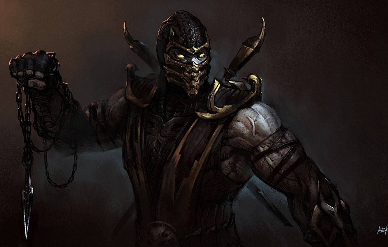 Photo wallpaper mask, art, chain, knife, Mortal Kombat, Scorpion, droxia