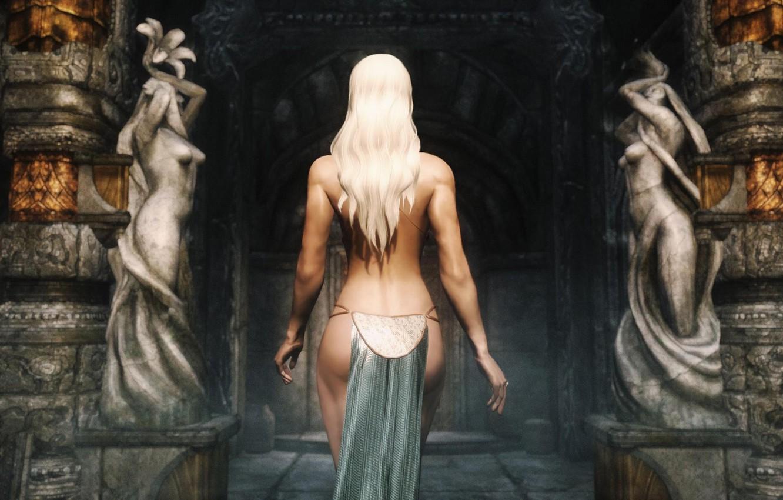 Photo wallpaper girl, back, blonde, temple, statues, The Elder Scrolls V: Skyrim