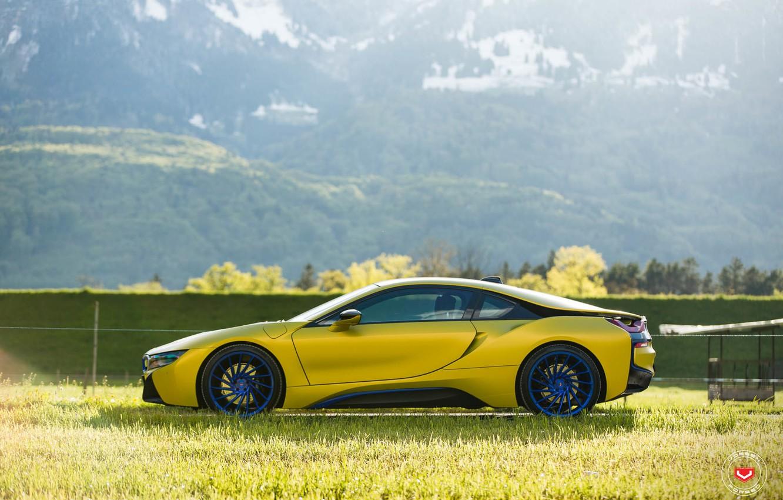 Photo wallpaper car, mountains, tuning, yellow, bmw i8