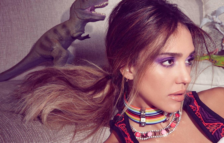 Photo wallpaper toy, dinosaur, Jessica Alba Jessica Alba