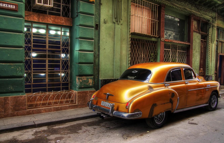 Photo wallpaper retro, street, Windows, home, car, Cuba, Havana