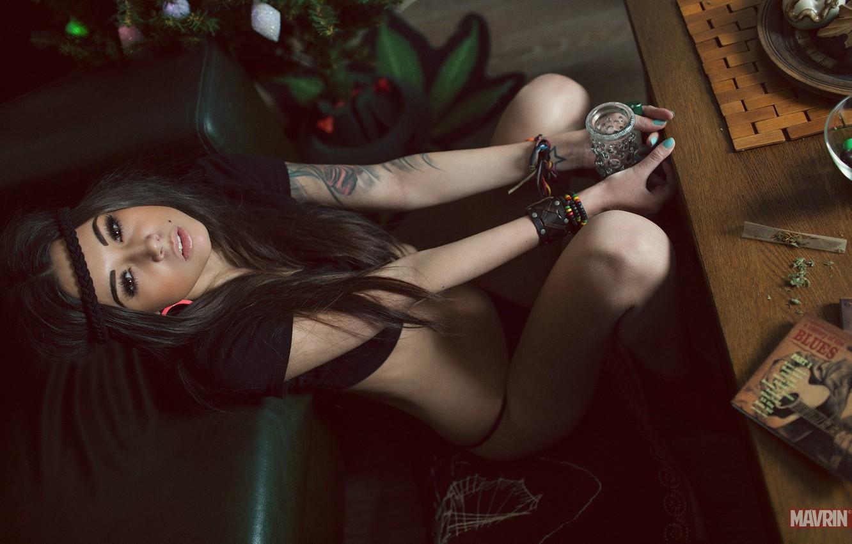 Photo wallpaper chest, look, girl, model, underwear, tattoo, Russian, the mavri, Diane malison
