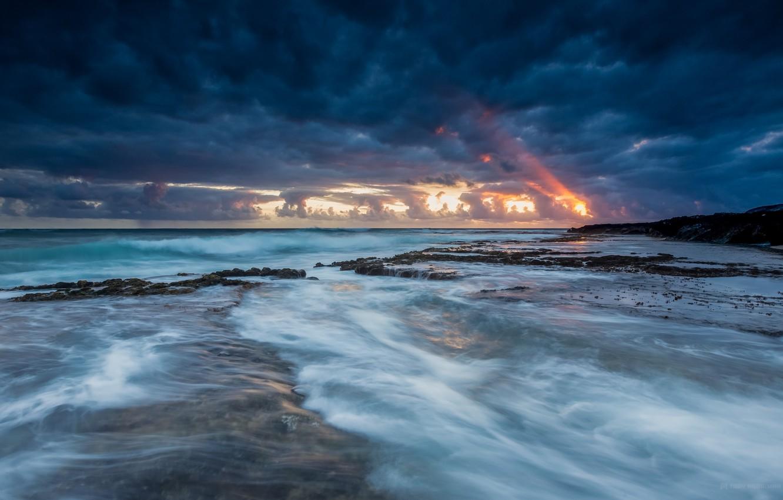 Photo wallpaper the sky, sunset, clouds, the ocean, shore, coast, the evening, Hawaii, USA, USA, blue, Hawaii