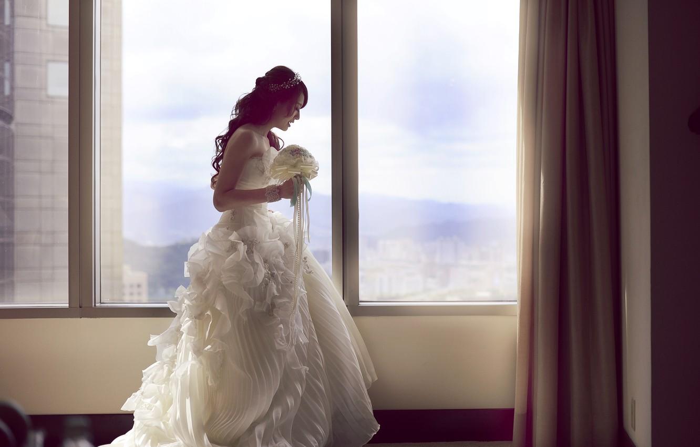 Photo wallpaper girl, room, bouquet, dress, Asian