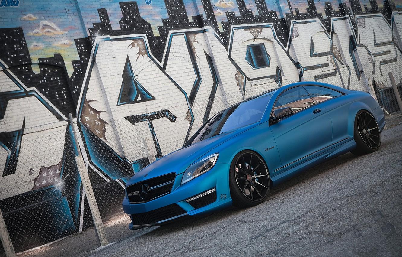 Photo wallpaper Mercedes-Benz, Auto, The fence, Wall, Tuning, Mesh, Graffiti, Machine