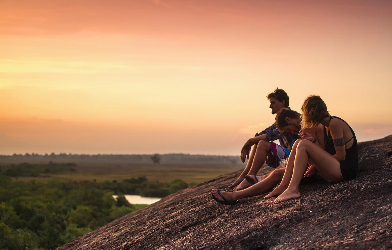 Photo wallpaper girl, rock, twilight, river, nature, sunset, people, beauty, dusk, men, friendship, valley, horizon, contemplation